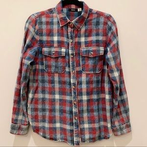Urban Outfitters BDG Distressed Flannel Blu/Red -M